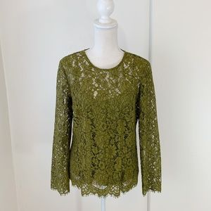 J. Crew Olive Green Long Sleeve Lace Top Sz 6 {GD}